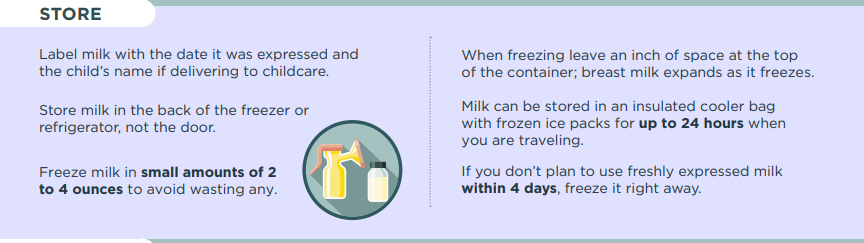 Storage: Tips for freezing milk