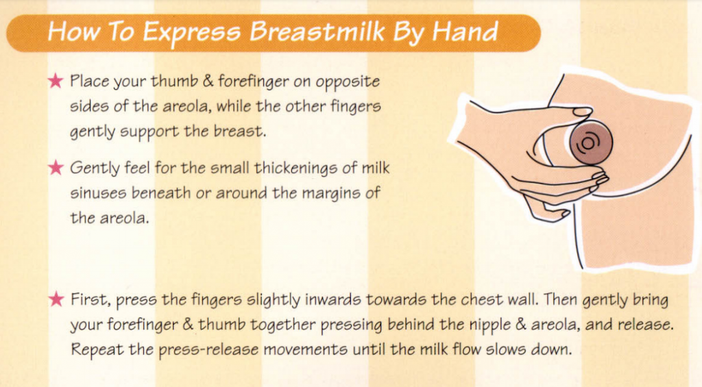 how to hand express breastmilk by hand