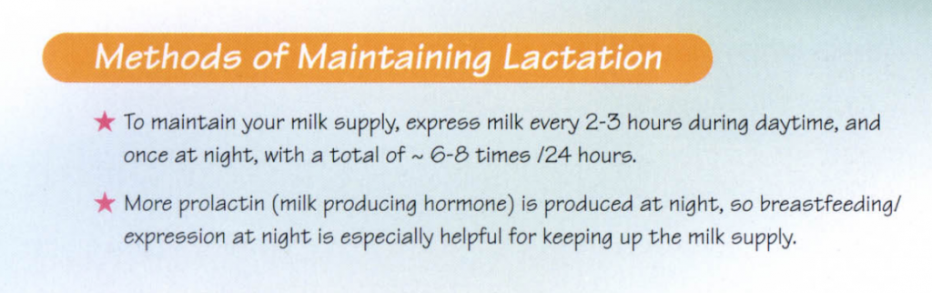 method of maintaining lactation
